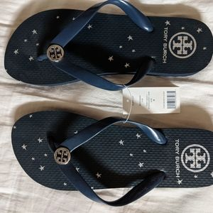 Brand new tory burch navy blue flip flops 8
